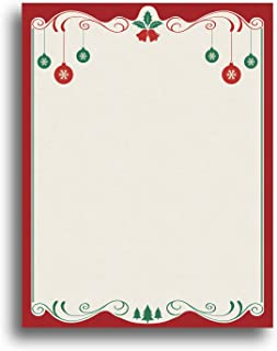 Red & Green Christmas Bulbs Holiday Stationery Paper - 80 Sheets