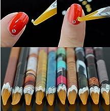Self Adhesive Resin Rhinestones Picker Pencil Nail Art Gem Crystal Pick up Tool Wax Pen Long 10Pcs
