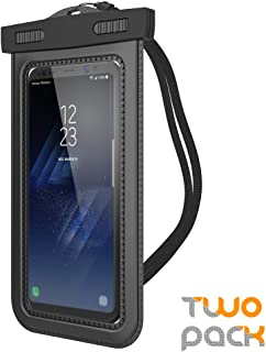 "Trianium (2Pack) Universal Waterproof Case, Cellphone Dry Bag Pouch w/ IPX8 for iPhone X 8 7 6s 6 Plus, SE 5s 5c 5, Galaxy s9 s8 s7 s6 edge, Note 5 4,LG G6 G5,HTC 10,Nokia, Pixel up to 6.0"" diagonal"
