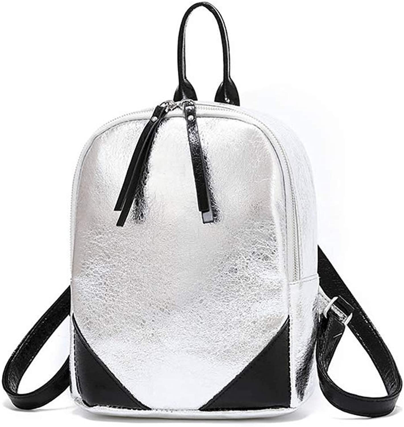 LCSHAN Backpack Shoulders Women's Leather Fashion Wild Travel Leisure (color   Silver)