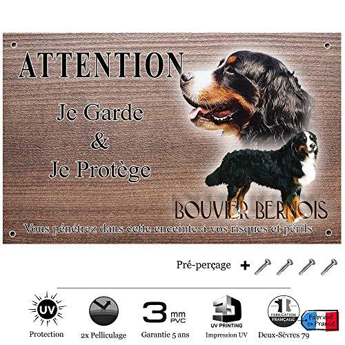 Pets-Easy.com Panneau Attention au Chien personnalisée Bouvier Suisse - pré perforée et vis comprises. De 30 cm à 15 cm…