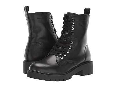 Steve Madden Guided Combat Boot (Black Leather) Women