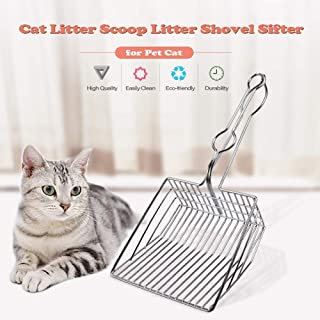 WEWILL Metal Cat Litter Scoop - Kitty Toilet Cleaning Shovel,Durable Stainless Steel Kitten Poop Sifter,Long Handle Wire Pet Excreta Non-Stick Deep Hollow Tray