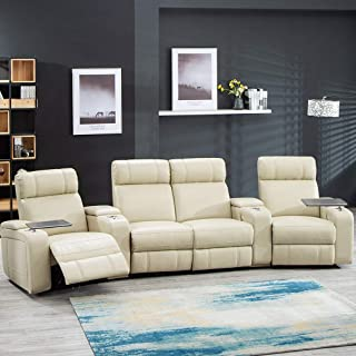 Home Theater Seating Reclining Power Sofa Theater Recliner Sectional Sofa with Storage and Cup Holders