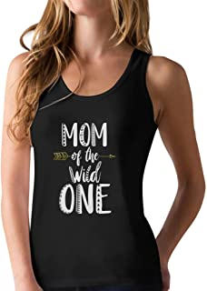 Mom of The Wild One Funny 1st Birthday Racerback Tank Top