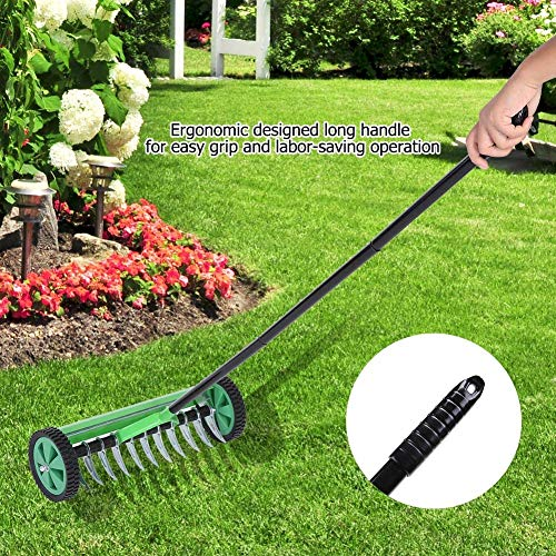 CRZJ Garden Cultivator Lawn Aerator Heavy Duty Steel Lawn Roller with Handle