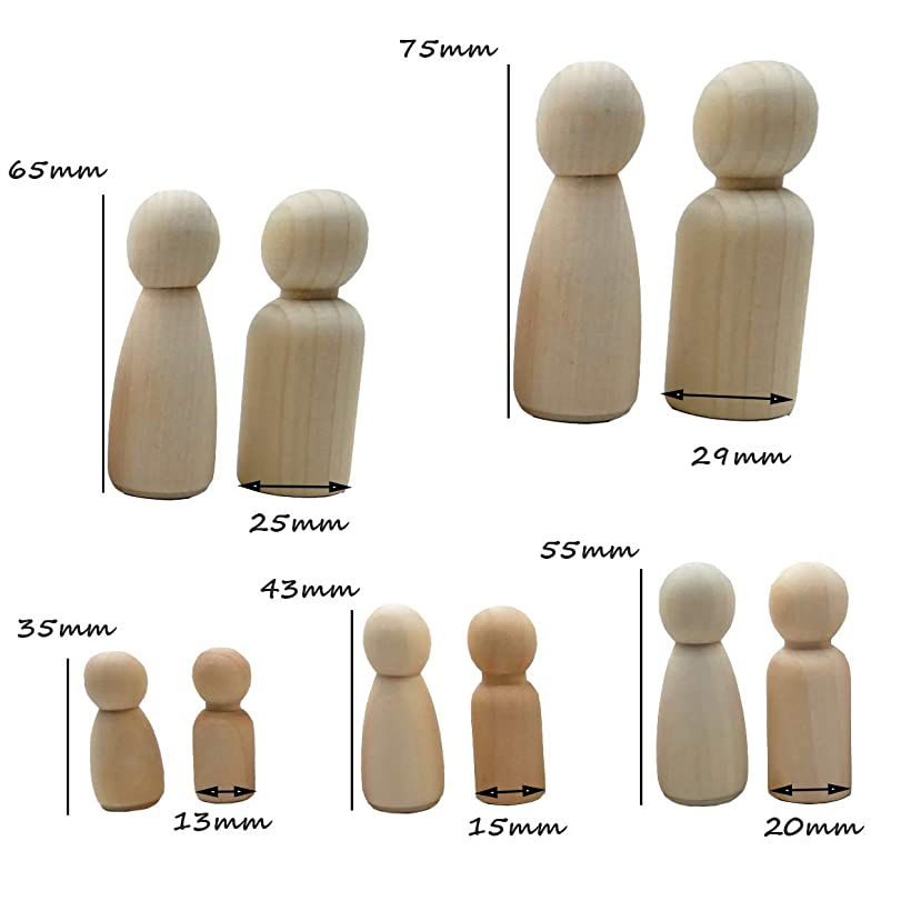 20pcs People Shapes, Male&Female Decorative Wooden Doll People, Unfinished Wooden Peg Doll Bodies, Great for Arts and Crafts (35-75mm Man/Woman)