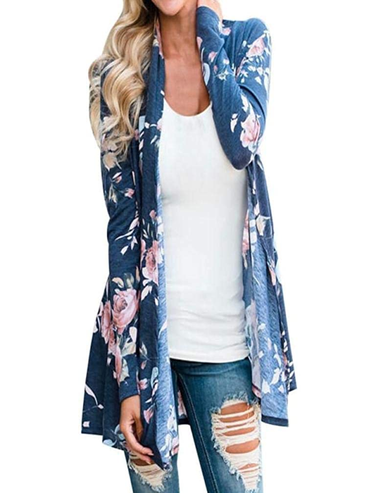 Ratoop Women's Open Front Drape Hem Lightweight Cardigan Casual Long Sleeve Cover up Blouse Tops