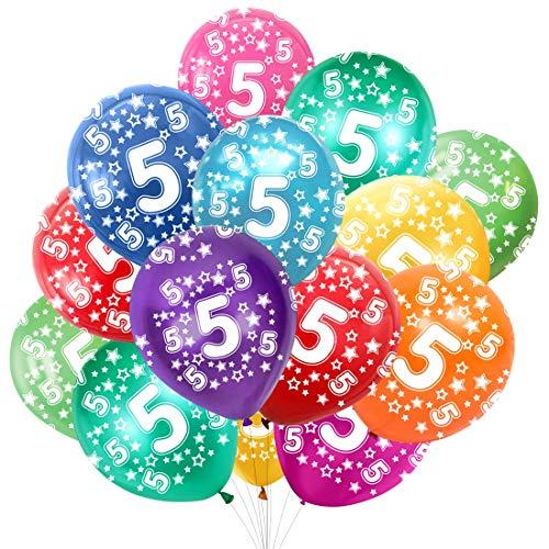 Globo Número 5, Cumpleaños Globos 5 Años, 5 Cumpleaños Decoración Globos Niño,Colores Globos Numeros 5 Fiesta Decoración para Feliz Cumpleaños,30 cm-Paquete de 30