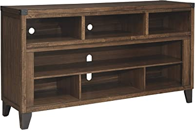 Benjara Wooden TV Stand with 2 Glass Insert Doors and 2 Cubbies, Brown