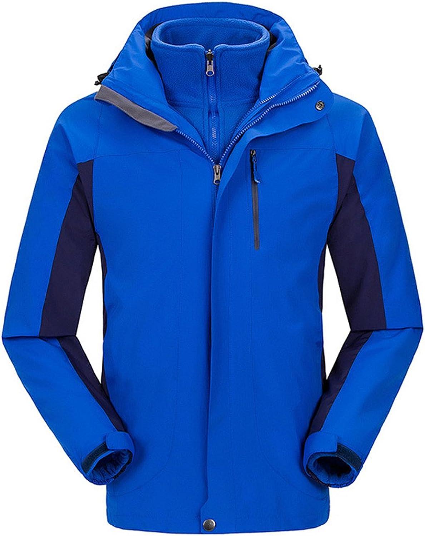 SiDiOU Group Waterproof Jacket 3 in 1 Hooded Soft Shell Fleece Trekking Jacket (Menbluee, XS)
