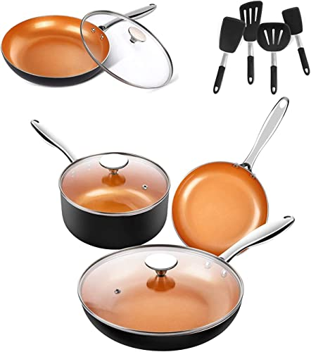 new arrival MICHELANGELO new arrival 5 Piece Copper Pots and Pans Set + 12 Inch Frying Pan outlet sale with Lid + 4-Piece Silicone Spatula Turner Set, Nonstick Copper Cookware Set with Ceramic Titanium Coating, Ceramic Cookware Set, OVE outlet sale
