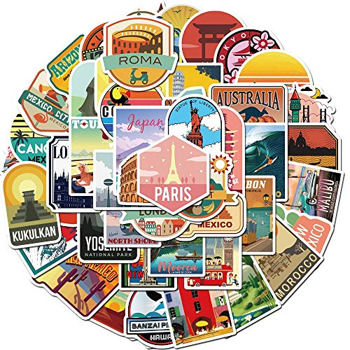 WWJIE New Global Tourist Cityscape Sticker Decal Vinyl Stationery Clip PS4 Skateboard Laptop Guitar Sticker 50PCS