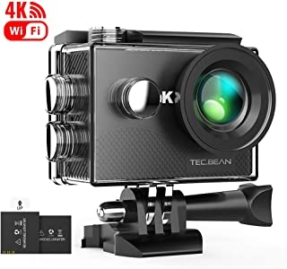 TEC.BEAN Action Camera 4K 16MP WiFi Underwater Camera Anti-Shake 170° Wide Angle Waterproof Camera with 2 Rechargeable Batteries and Mounting Accessories Kit
