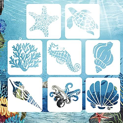 AvoDovA 8 Stück Meer Malerei Schablonen Set, WiederverwendbarZeichenschablonenMuster, Schablonenzum Malen auf Holz, Meer Malerei Vorlagenfür DIY Handwerk Scrabooking Wanddekoration