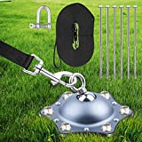 HQQNUO Dog Tie Out Stake, 360 Swivel Heavy Duty Dog Anchor with 30ft Cable, Outdoor Rust Proof Dog Tie Out Stake Holds 1000Lbs of Pull Force for Medium Large Dogs in Yard Camping Outdoor