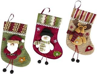 Calcetines de Navidad para decoración de árbol de Navidad, 3 unidades, calcetines de Navidad