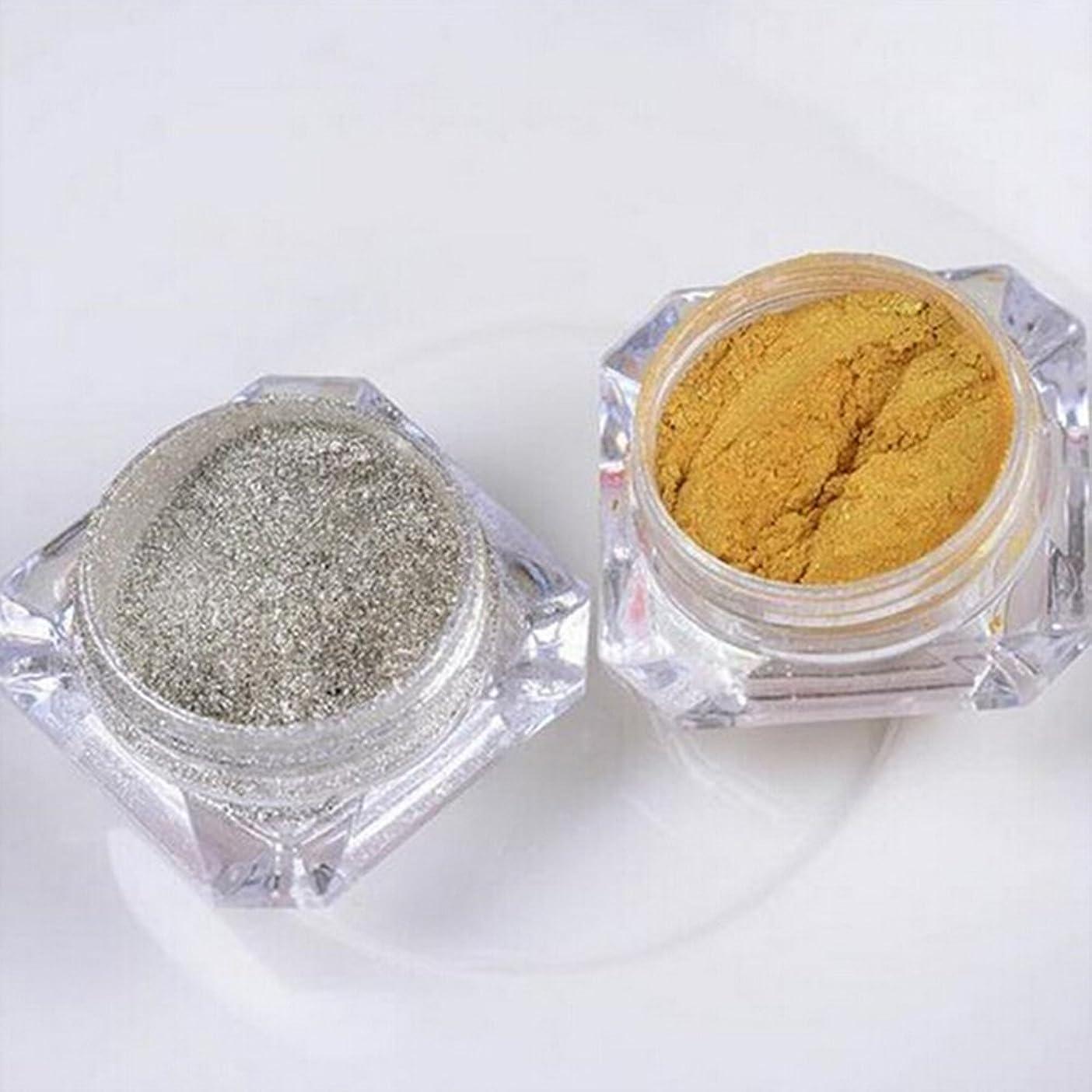 セーブジャグリング許可Doitsa フラッシュ ネイル用 パウダー ネイル 微分子 ラメグリッター スーパーフラッシュ スパンコール ゴールド シルバー 2色セット 各色3g入り