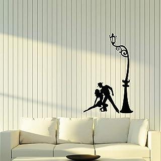 RZDY Modern vinyl wall applique bedroom decoration street lamp dance tango passion dancer mural living room mural art-35X57CM