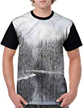 Girls Short Sleeve Tops,Woodland,Trees in Cold Day Lake S-XXL O Neck T Shirt Female Tee