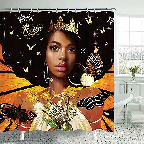 Lierpit African American Girl Women Duschvorhang Schwarz Sexy Mädchen Frauen Badezimmer Gardinen African Black Princess Queen Dusche Badezimmer Gardinen Sets Dekoration mit Haken 175,3 x 177,8 cm