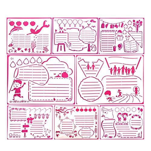 XUNXI Zeichnungen Vorlagen, 8 Stück Büromaterial DIY Zeichnungsvorlage für Tagebuch Journal Schablonen Kunststoff Handwerk Notizbuch Zeitplan Buch Sammelalbum Notizblock