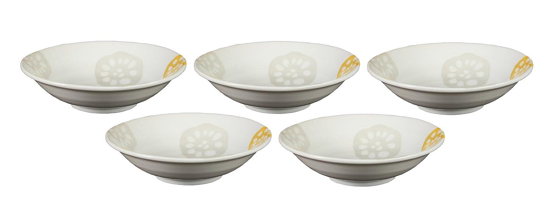 エンドウする必要がある邪魔みのる陶器 レンコン(黄) 軽和4.5浅鉢 5個セット