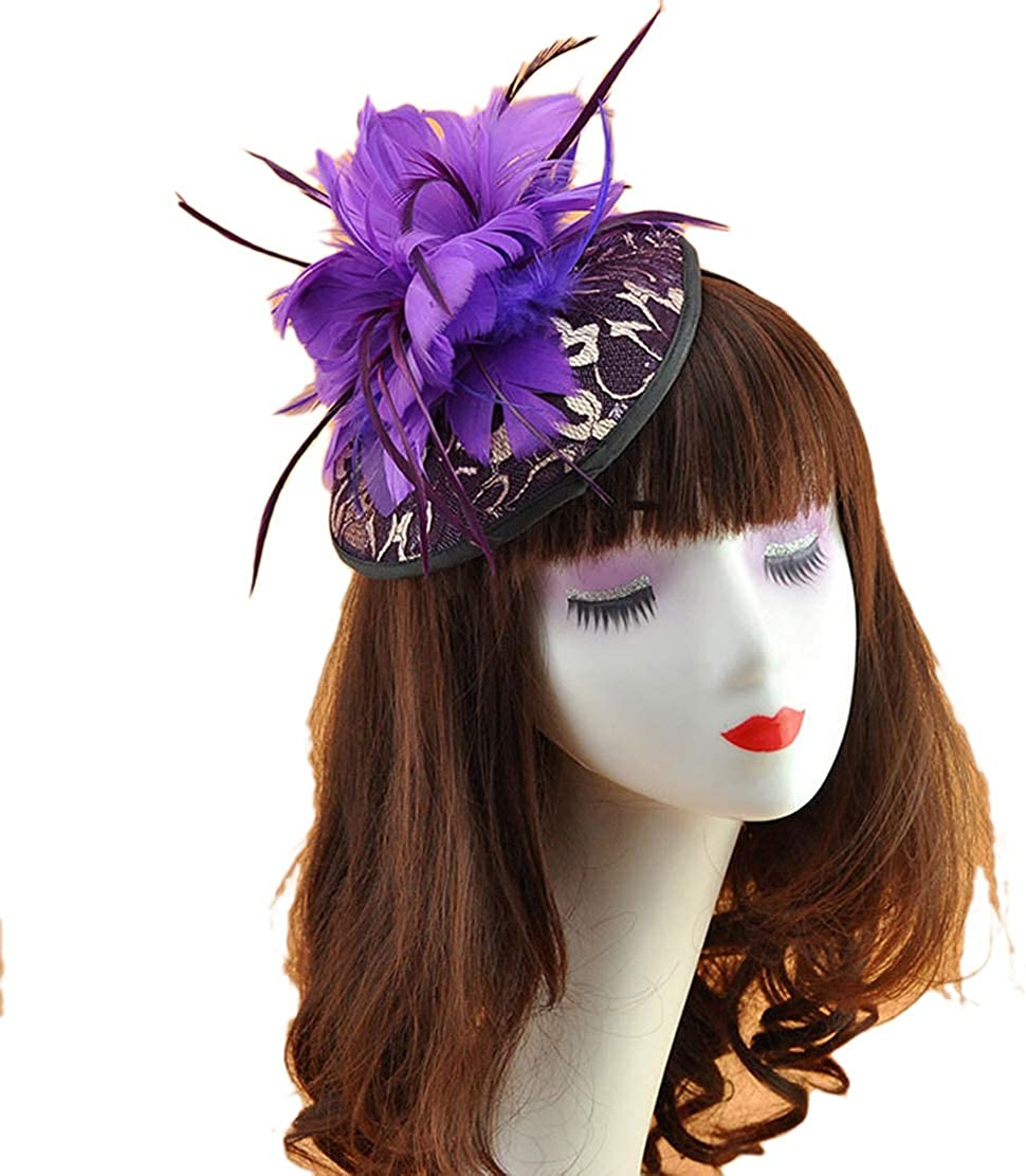 Belyee Feather Lace Fascinator Hats for Women Cocktail Tea Party Cocktail Headpiece