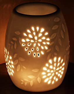 Ceramic Tealight Holder Essential Oil Burner Aromatherapy Wax Candle Tart Burner Warmer Diffuser Aroma Candle Warmers Porcelain Decoration for Parlor Bedroom Carved Star Shape (1002)