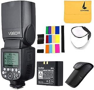 Godox V860II-N 2.4G TTL HSS 1/8000s con Li-on Batería Camara Flash Speedlite para Nikon D500 D7200 D5500 D5300 D300 D300S D3200 D3300 D3400 D200 D70S D810 D610 D90 D750 +LETWING Paño (V860II-N)