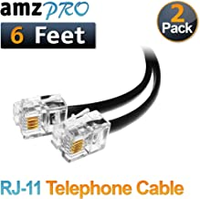 (2 Pack) 6 Feet Black Telephone Cable RJ11 Male to Male 72 inch Phone Line Cord