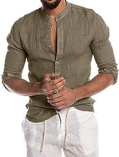 Puimentiua Camisa de Lino Casual para Hombre Camiseta Blusa de Manga Larga con Botones Cuello Alto para Verano Otoño