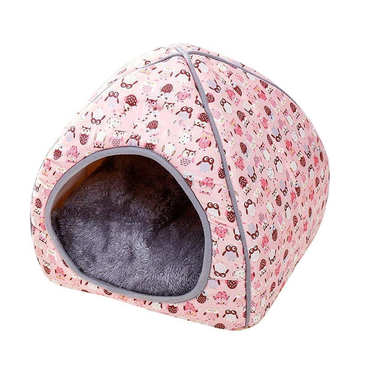 ファントム低下ふりをするペットテント洞窟ベッド折りたたみ式ペット猫ベッドマットソフトシェイプ犬犬小屋冬のペットハウス暖かい睡眠猫巣洗えるMスタイル2-4