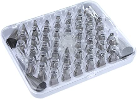 Anself 52pcs Icing Piping Nozzles Tips Tool Set For Cake Puff Decorating Sugarcraft Pastry Silver