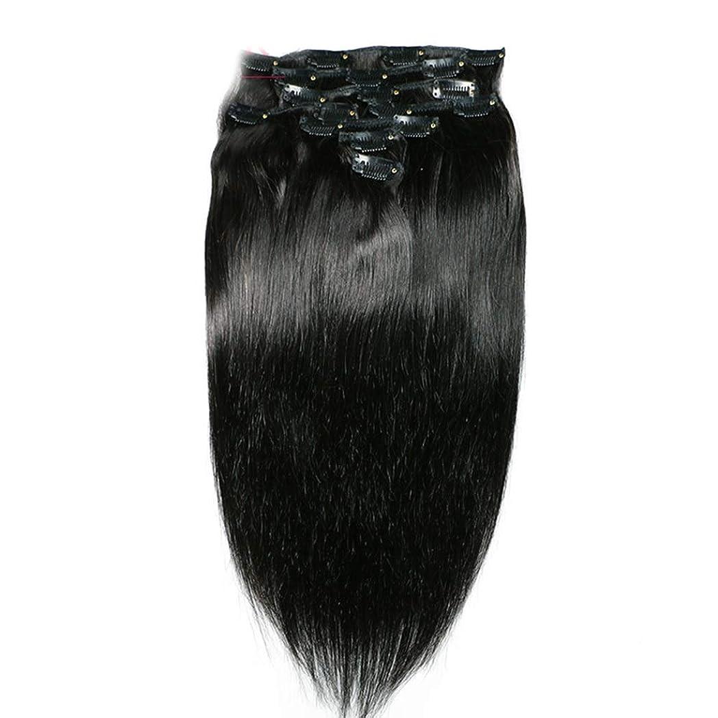 蒸気ファウル不一致HOHYLLYA ヘアエクステンションクリップ人間の髪の毛のremyフルヘッドダブル横糸ストレートヘアピースナチュラルブラックコンポジットヘアレースかつらロールプレイングウィッグロングとショートの女性自然 (色 : 黒, サイズ : 18 inch)