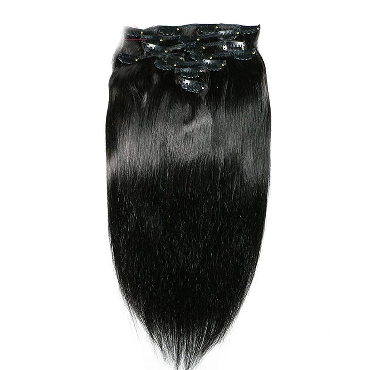 適応するアウター日常的にHOHYLLYA ヘアエクステンションクリップ人間の髪の毛のremyフルヘッドダブル横糸ストレートヘアピースナチュラルブラックコンポジットヘアレースかつらロールプレイングウィッグロングとショートの女性自然 (色 : 黒, サイズ : 18 inch)