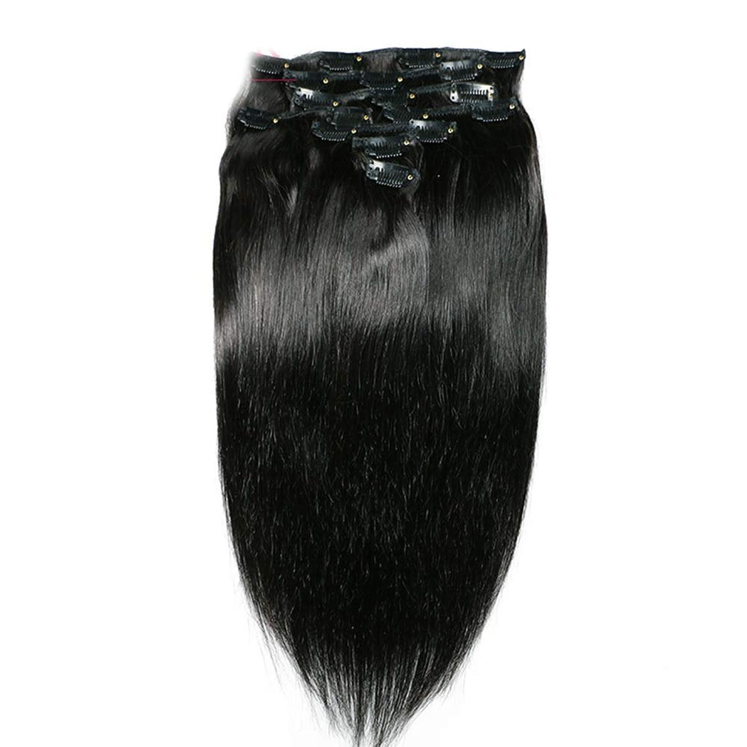 処理する治療解読するHOHYLLYA ヘアエクステンションクリップ人間の髪の毛のremyフルヘッドダブル横糸ストレートヘアピースナチュラルブラックコンポジットヘアレースかつらロールプレイングウィッグロングとショートの女性自然 (色 : 黒, サイズ : 18 inch)