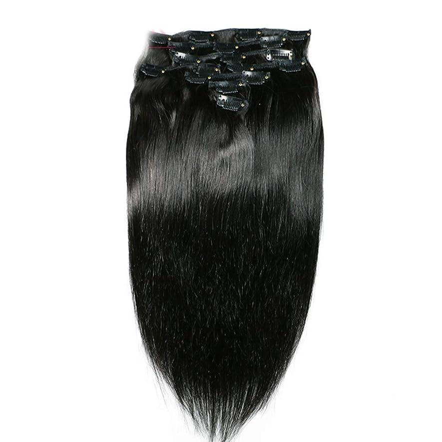 士気召喚する速いHOHYLLYA ヘアエクステンションクリップ人間の髪の毛のremyフルヘッドダブル横糸ストレートヘアピースナチュラルブラックコンポジットヘアレースかつらロールプレイングウィッグロングとショートの女性自然 (色 : 黒, サイズ : 18 inch)