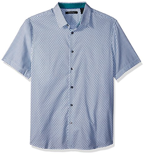 AXIST Men's Short Sleeve Slim Dot Print Woven, Blue Coral, X-Large