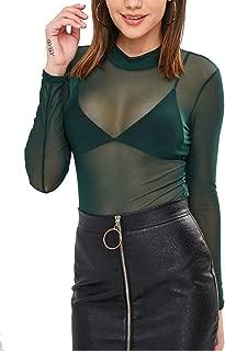 Women Slim Fit Mesh See Through Top Mock Neck Long Sleeve Shirt Blouses