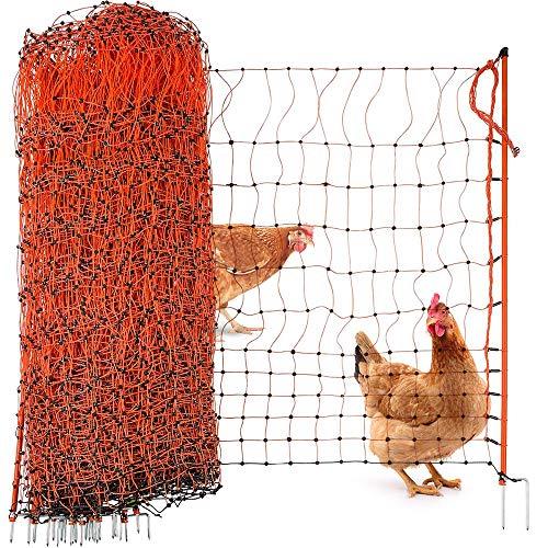 Agrarzone Geflügelnetz Geflügelzaun mit Strom orange 50m x 106cm | Elektrozaun Elektronetz mit Doppelspitze & Pfähle | geringe Maschenweite & robust | Hühnerzaun Weidezaun für sichere Geflügelhaltung