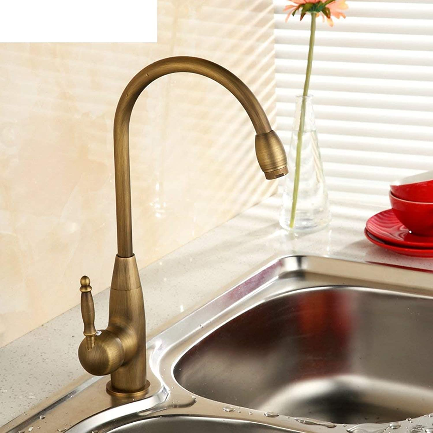 Oudan Kitchen Faucet All copper antique kitchen faucet Hot and cold vegetables basin faucet redatable sink faucet hole-A (color   -, Size   -)