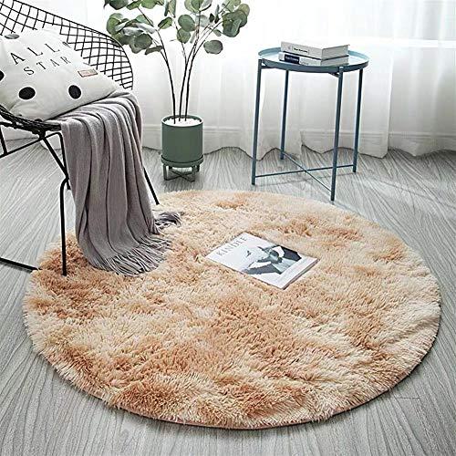 AKEFG Plüsch-Art Rund-Vorleger eleganten Chic Cozy Shaggy Rund Teppich Boden Teppichboden Vorleger Hausdekoration Luxus Fluffy Super Soft Kinderspielmatte,Camel,120 cm
