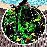 Tobgreatey Toalla de playa redonda con borlas, psicodélica, verde, diseño de bosque seta divertida, para mujeres, color blanco, 150 cm
