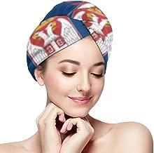 Bath Caps Serbian Flag Microfiber Hair Twist Cap Quickly Dry Hair Turban Head Wraps