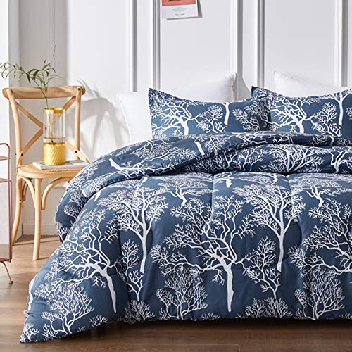 Uozzi Bedding Navy Comforter Set with White Tress, Reversible Queen Size Down Alternative Comforter Microfiber Duvet Sets - 1 Comforter + 2 Pillow Shams