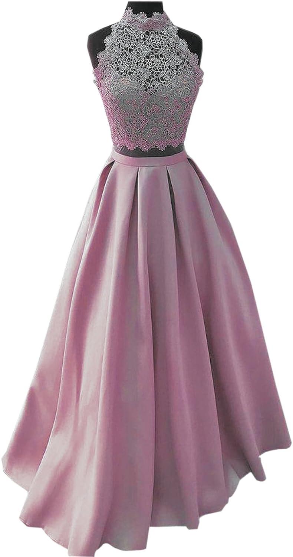 BridalAffair High Neck Sleeveless Prom Dresses Long ALine Party Evening Gowns