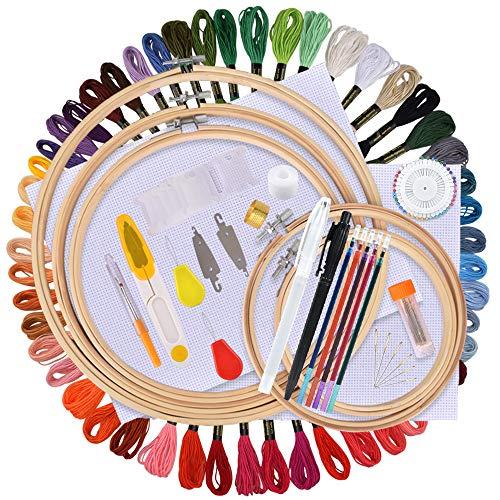 AFDEAL Sticken Set, Embroidery Starter Kit, Stickerei Kreuzstich Tool Set, Einschließlich 50 Farbfäden, 5 Bambus Stickrahmen, 2 Aida Stoff und Nadeln Wasserlösliche Stifte Set für Anfänger Erwachsene