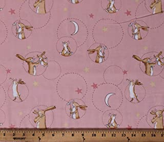 Cotton Rabbits Cute Bunnies Nutbrown Hares Guess How Much I Love You Children's Book Animals Moons Stars on Pink Cotton Fabric Print by The Yard (D305.15)