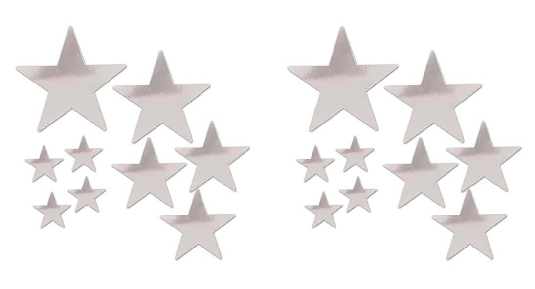 Beistle 53306-S Beistle 53306-S, 18 Piece Packaged Foil Star Cutouts, Assorted Sizes (Silver), Assorted Sizes, Silver
